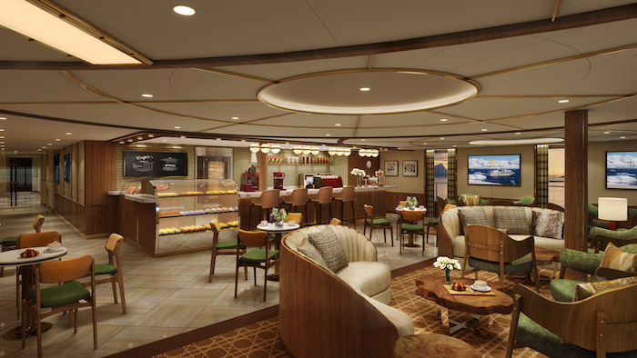 Rendering: Seabourn Square cafe, Seabourn Venture. Image: Seabourn/Holland America Line