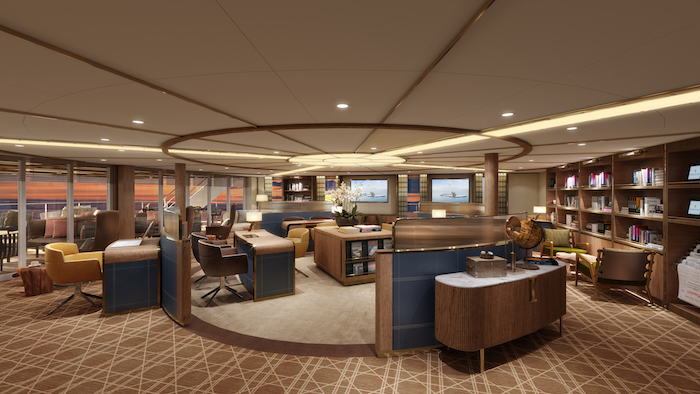 Rendering: Library, Seabourn Square, Seabourn Venture. Image: Seabourn/Holland America Line