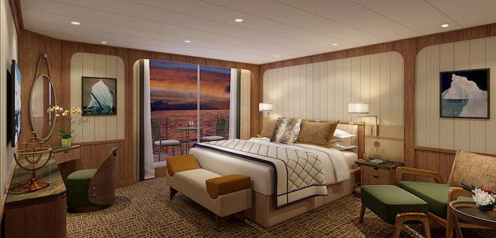Rendering: Signature Suite Bedroom, Seabourn Venture. Image: Seabourn/Holland America Line