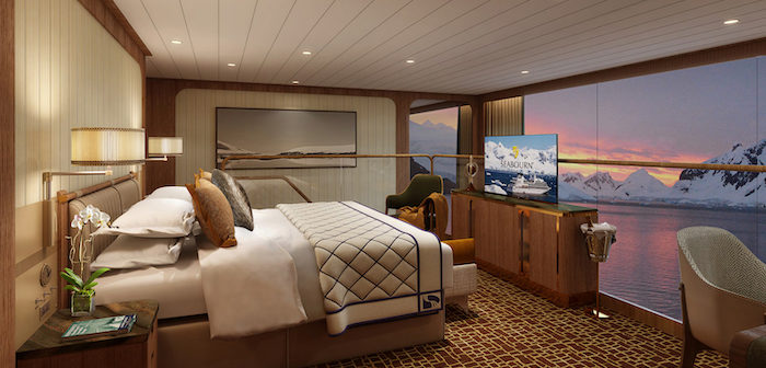Rendering: Wintergarden Suite Bedroom, Seabourn Venture. Image: Seabourn/Holland America Line