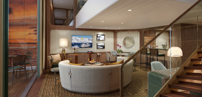 Rendering: Wintergarden Suite living room, Seabourn Venture. Image: Seabourn/Holland America Line
